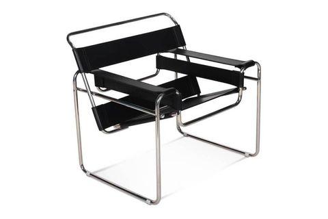 Bauhaus Leather Armchair, Black & Chrome