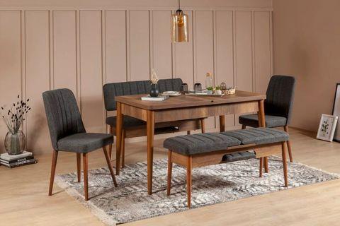 Vina 4-6 Seat Extendable Dining Table, Dark Wood