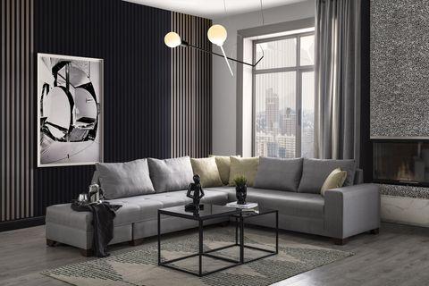 Esse Corner Chaise Sofa, Left, Dark Grey