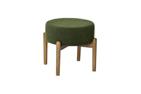 Wooden Leg Footstool, Dark Green