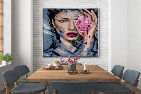 TABLOLİFE BLUE EYES PINK ROSE YAĞLI BOYA DOKULU TABLO 60X90 CM