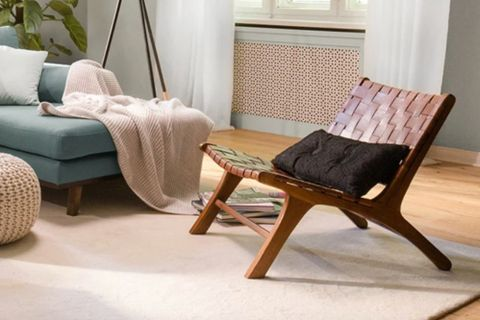 Sohomanje Natural Leather Wooden Armchair, Brown