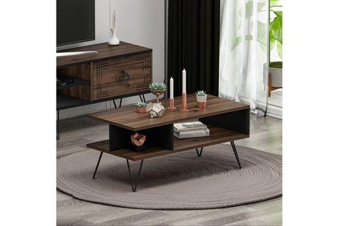 Betroya Milestone Coffee Table, Dark Wood and Black