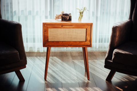 Retro Wood Evarado Bedside Table With Jute Door, Dark Wood