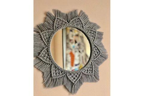 Macrame Mimi Mirror, Grey