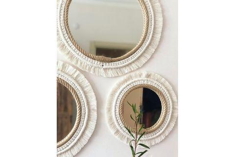 Macrame Boho Mirror, Large, Ecru