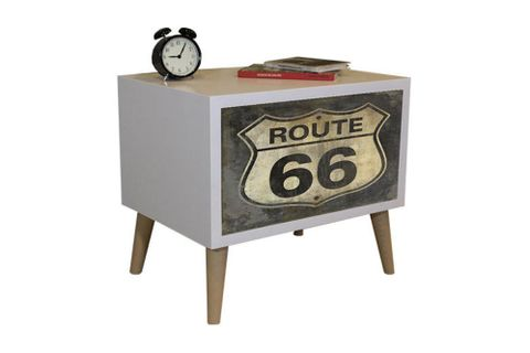 Route Bedside Table, White