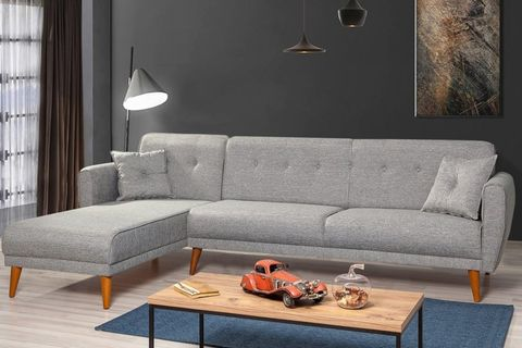 Aria Corner Sofa Bed, Grey (Left)