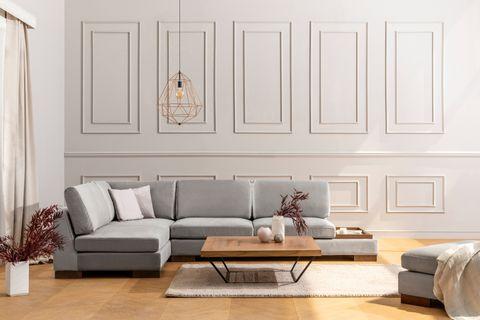 Tulip Corner Chaise Sofa, Left, Grey