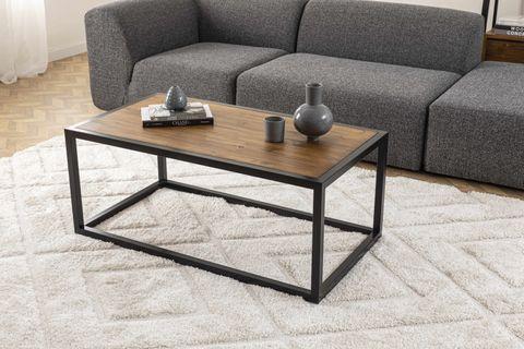 Matis Metal Leg Coffee Table, Dark Wood & Black
