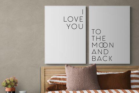 I LOVE YOU MOON THE BACK  BEYAZ ÇERÇEVE TABLO SETİ 33X48