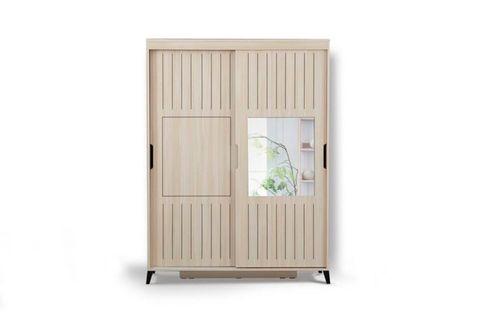 Huga Sliding Wardrobe 140 cm Cabinet, Light Wood