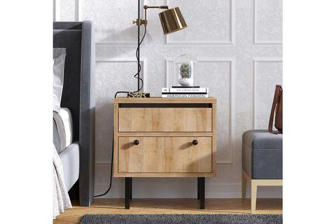 Freya Bedside Table, Light Wood