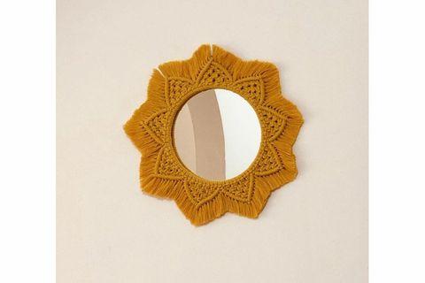 Macrame Mimi Mirror, Mustard