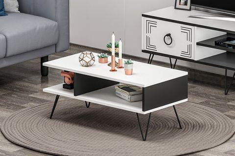 Betroya Milestone Coffee Table, White & Black