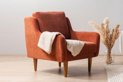 Merlin Velvet Armchair, Orange