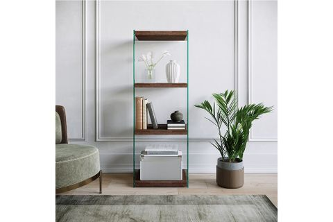 Neostyle - Niagara Bookcase, Tempered Glass And Solid Wood