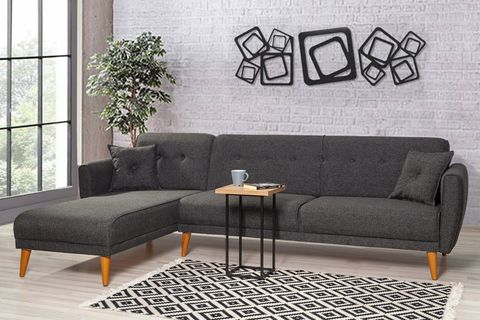 Aria Corner Sofa Bed, Anthracite Grey (Left)