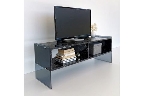 Neostyle TV Stand, Black Marble, 122 cm