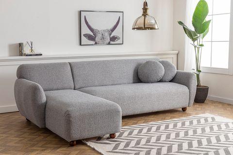 Eddy Corner Chaise Sofa, Left, Light Grey