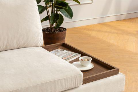 Tulip Corner Chaise Sofa, Left, Ecru