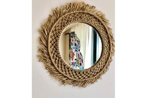 Jute Round Boho Mirror