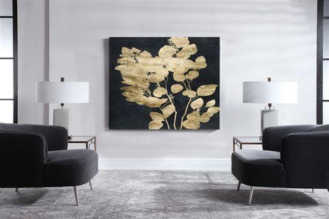 TABLOLİFE GOLD FLOWER YAĞLI BOYA DOKULU TABLO 60X90 CM