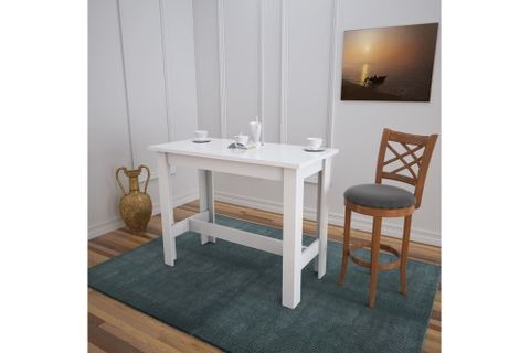 Pasific Barra 4 Seat Fixed Dining Table, White (High Gloss)