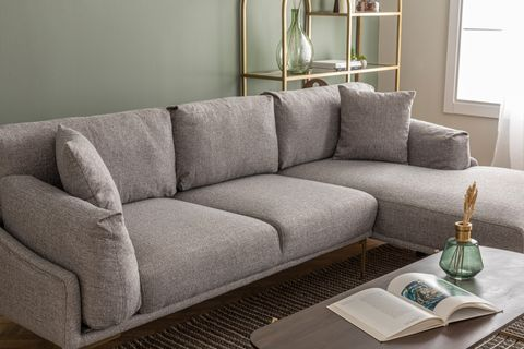 Leo Corner Sofa, Grey (Right)