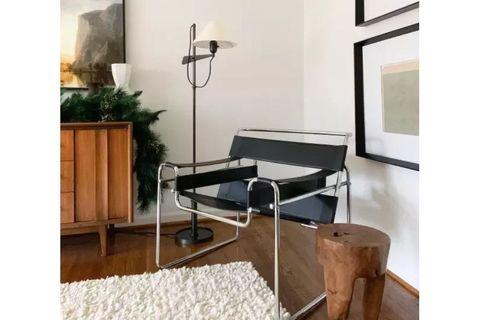 Sohomanje Leather Armchair,  Black & Chrome