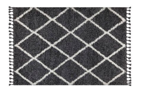 Marrakesh Line Rug, Anthracite Grey & White (Large)