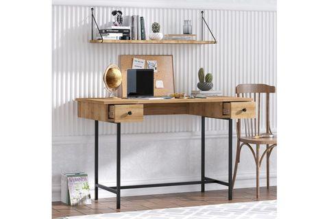 Dixie Study Table, Light Wood & Black