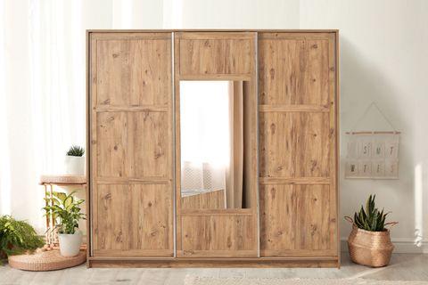 Victoria Sliding Wardrobe, Light Wood & Dark Grey