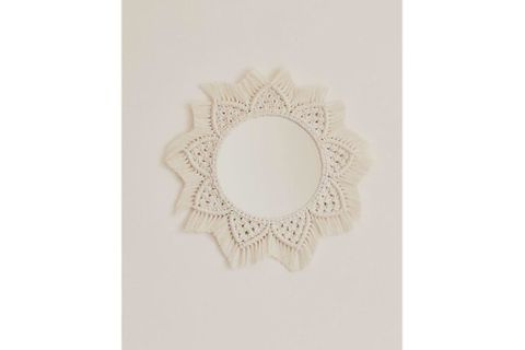 Macrame Mimi Mirror, Cream