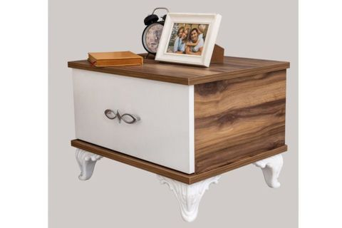 Crown Bedside Table, White &  Light Wood