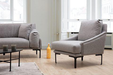 Leo Linen Armchair, Grey & Black