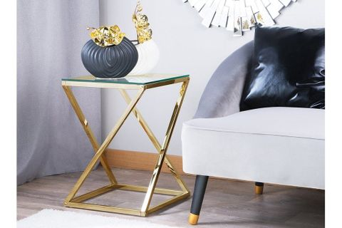 Udioy Glass Side Table, Gold