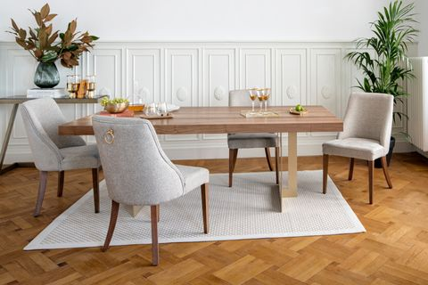 Nepal 6-8 Seat Fixed Dining Table, Light Wood