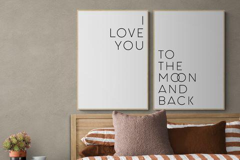 I LOVE YOU MOON THE BACK  NATURAL ÇERÇEVE TABLO SETİ 33x48