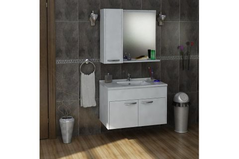 Milo Under Sink and Wall Mounted Bathroom Cabinet with Sink - White