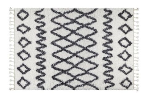 Marrakesh Pattern Rug, White & Anthracite Grey (Small)