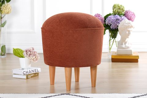 Luvia Round Footstool, Red
