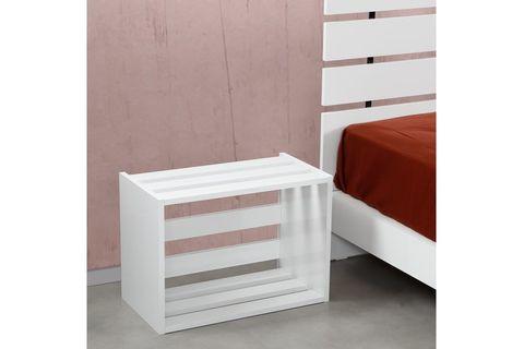 Huga Bedside Table, White (High Gloss)