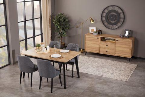 Eti 6-8 Seat Extendable Dining Table, Oak & Black