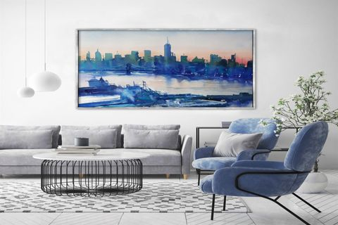 TABLOLİFE BLUE CITY YAĞLI BOYA DOKULU TABLO 100X150 CM
