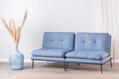 Futon Martin Three Seater Sofa Bed, Blue