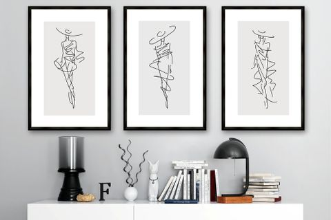 Fashion Notes Art Print with Frame, Triptych