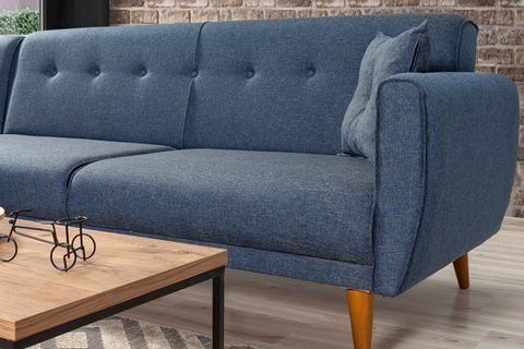 Aria Corner Sofa Bed, Navy Blue (Left)