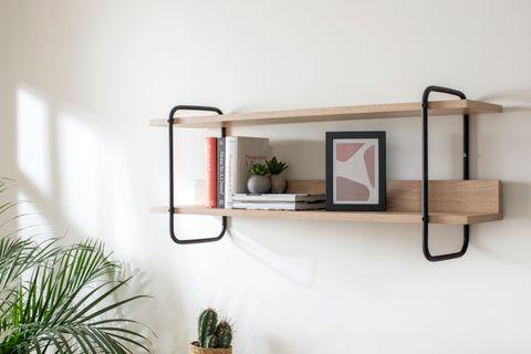 Loft Home Wall Mount Shelf, Light Wood & Black