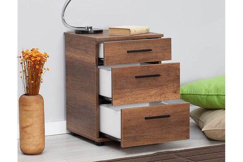 Trendline 3 Drawer Bedside Table, Dark Wood